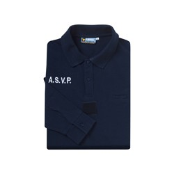 Polo marine manches longues ASVP