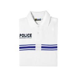 Polo blanc Police Municipale Manches Courtes
