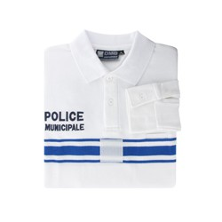 Polo PM Police Municipale Manches Longues Blanc