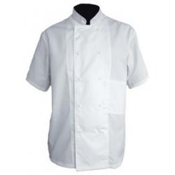 Veste cuisine blanche manches courtes polycoton