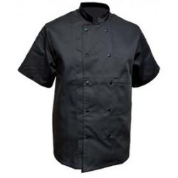 Veste cuisine manches courtes noir polycoton
