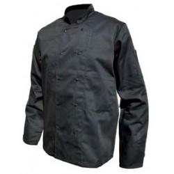 Veste cuisine manches longues noir polycoton