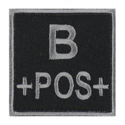 Ecusson groupe sanguin B positif gris sur noir