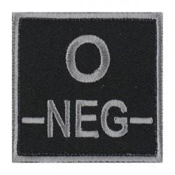 Ecusson groupe sanguin B négatif gris sur noir