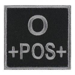 Ecusson groupe sanguin O positif gris sur noir