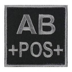 Ecusson groupe sanguin AB positif gris sur noir