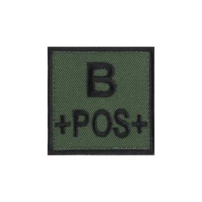 Ecusson groupe sanguin B positif noir sur vert armée