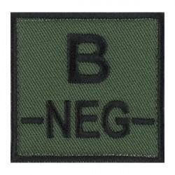 Ecusson groupe sanguin B négatif noir sur vert armée