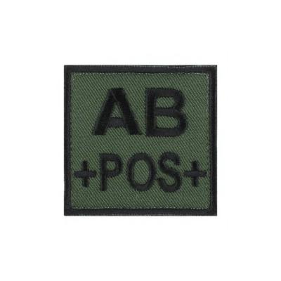 Ecusson groupe sanguin AB positif noir sur vert armée