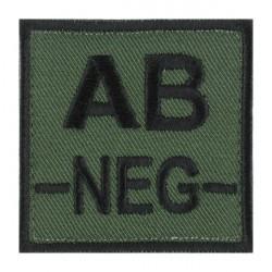 Ecusson groupe sanguin AB négatif noir sur vert armée