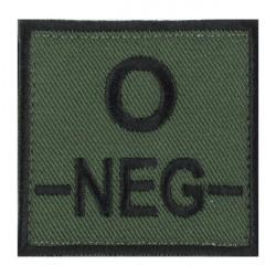 Ecusson groupe sanguin O négatif noir sur vert armée