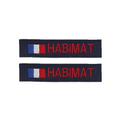 Lot de 2 bandes patronymiques sur fonds marine + drapeau France