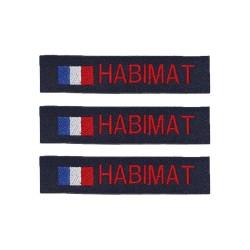 Lot de 3 bandes patronymiques sur fonds marine + drapeau France