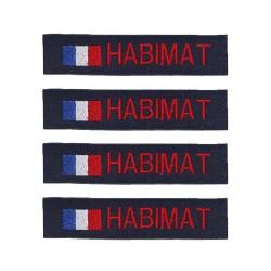 Lot de 4 bandes patronymiques sur fonds marine + drapeau France