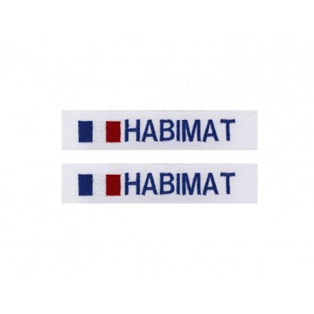 Lot de 2 bandes patronymiques sur fonds blanc + drapeau France
