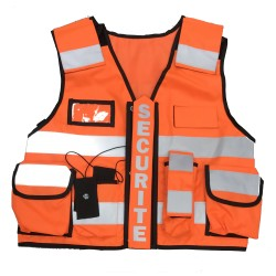 Gilet multipoches orange fluo