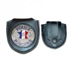 Porte insigne cuir ceinture