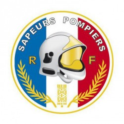 Autocollant rond Tricolore Sapeurs Pompiers